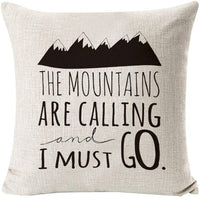 INSHERE Throw Pillow Cover Quotes and Sayings Home Decor Design Cotton Linen 18 x 18 Cushion Cover for Sofa (Mountains Calling)