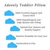 Adovely Toddler Pillow, Organic Cotton, Microfiber Down-Like Fill, 13 x 18
