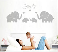AIYANG Four Elephants Family Wall Decal Love Hearts Family Words Baby Twins Vinyl Wall Decal Sticker for Baby Nursery Room Decor (Large 56''x20'', Grey)