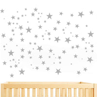 JUEKUI Moon and Stars Wall Decal Set Starry Sky Vinyl Sticker for Kids Boys Girls Baby Room Decoration Good Night Nursery Wall Decor Home Decoration WS29 (Light Grey)