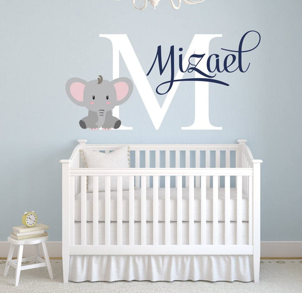 "Pinkie Penguin Name Elephant Wall Decal Custom Baby Boy Nursery Decor Personalized Gift Vinyl Art (34"" W x 22"" H)"