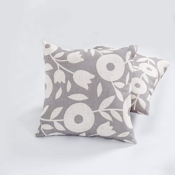 Linen Textured Toss Pillow Cases Floral Printed Decorative Square Cushion Covers for Sofa, 18x18-inch, 2 Pieces, Grey and White