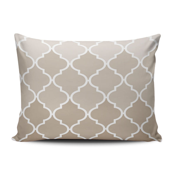 SALLEING Custom Hot Romantic Girly Cream Brown Moroccan Quatrefoil Pattern Decorative Pillowcase Pillowslip Throw Pillow Case Cover Zippered One Side Printed 12x16 Inches