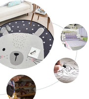 ASSR Round Area Rug, Dia 39inch Cartoon Animal Round Children Area Rug Yoga Mat for Living Room, Bedroom Decors, Kids Room, Baby Nursery (Bear)