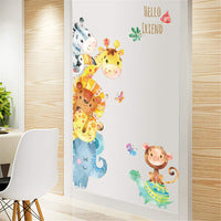 WEWINLE Cartoon Animal Wall Stickers Giraffe Elephant Wall Decals for Kids Rooms Wall Decor Baby Bedroom Nursery Decoration(Jungle Animals)