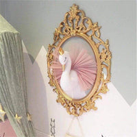 Mofeng 3D Gold Crown Swan Head Gauze Dress Wall Art Hanging for Nursery Kids Room Decoration Girls Gift Room Bedroom Playroom