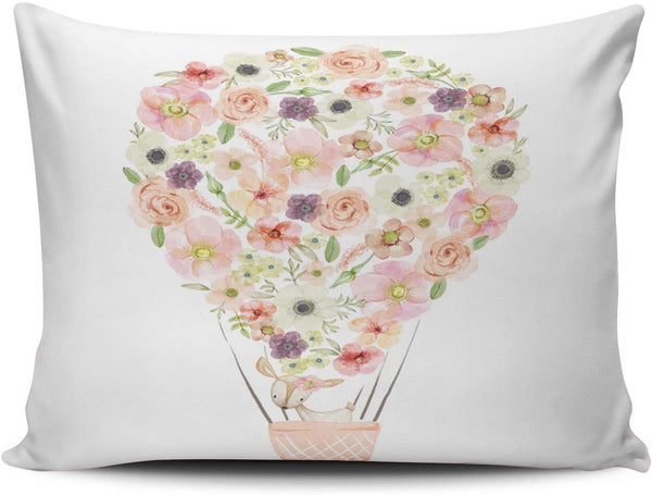 Fanaing Bedroom Custom Decor Balloon Boho Woodland Deer Nursery Floral Pillowcase Soft Zippered Colorful Throw Pillow Cover Cushion Case Fashion Design One-Side Printed Boudoir 12x18 inches