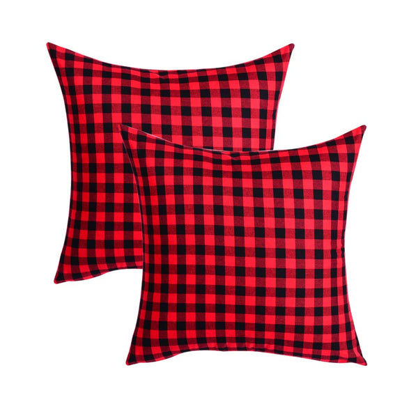 LGHome Buffalo Check Pillow Cover, 2 Pack 16X16INCH Black Red Buffalo Plaid Throw Cushion Case for Winter Holiday Rustic Farmhouse Decoration