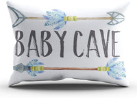 ONGING Decorative Pillows Blue Gray and White Baby Cave Boho Tribal Boy Nursery Customizable Cushion Rectangle Lumbar Size 12x24 Inch Throw Pillow Cover Hidden Zipper One Sided Design Printed