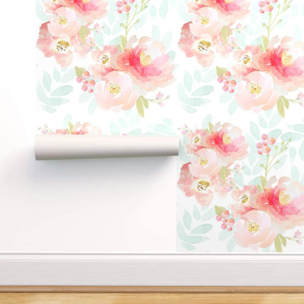 Spoonflower Pre-Pasted Removable Wallpaper, Floral Watercolor Baby Girl Nursery Florals Pink Blue Decor Print, Water-Activated Wallpaper, 24in x 108in Roll