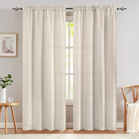 84 inch Curtains Linen Textured Room Darkening Greyish Beige Bedroom Living Room Dining Room Drapes Rod Pocket Window Treatment Panels 2 Pieces