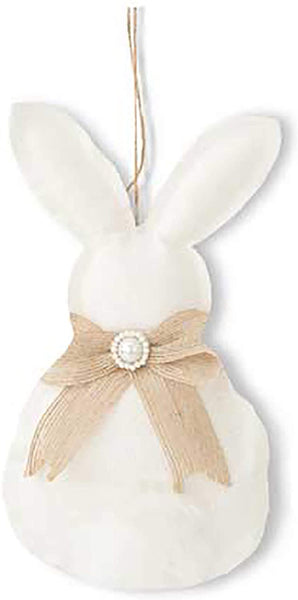 K&K Interiors White Hanging Bunny Burlap Ornaments - Nursery, Easter Brunch, Holiday Decoration, Photography Prop (Round White)