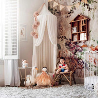 OldPAPA Kids Bed Canopy with Pom Pom Hanging Mosquito Net for Baby Crib Nook Castle Game Tent Nursery Play Room Christmas Decor,White