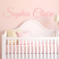 "Fancy Cursive Single Personalized Custom Name Vinyl Wall Art Decal Sticker 36"" W, Girl Name Decal, Girls Name, Nursery Name, Girls Name Decor, Girls Bedroom Decor, PLUS FREE 12"" WHITE HELLO DOOR DECAL"