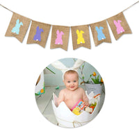 Easter Decorations Easter Bunny Burlap Banner Bunting Banners Decor for Homes, Stores, and Schools etc. Nursery Decor