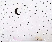 JURUOXIN Moon and Stars Wall Decal Vinyl Sticker for Kids Boy Girls Baby Room Decoration Good Night Nursery Wall Decor Home House Bedroom Design YMX16 (White)