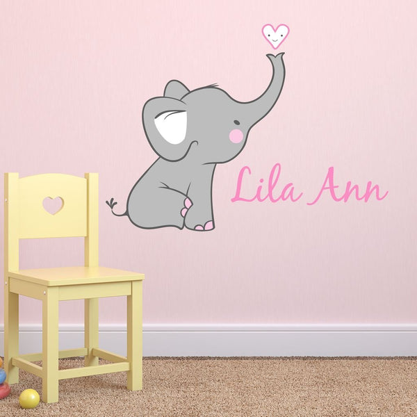 Girls Nursery Elephant Custom Personalized Name Wall Decal Large, Nursery Elephant Wall Decals, Girls Wall Decals Elephants, Nursery Decals, Nursery Wall Decals Plus Free Hello Door Decal