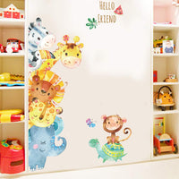 Cartoon Animals Wall Stickers DIY Children Mural Decals for Kids Rooms Baby Bedroom Wardrobe Door Decoration (Animal)