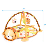 BABY JOY Cute Lion Theme Baby Play Gym Mat, 3 in 1 Baby Cognitive Exploration Activity Mat with Removable Toys Bars & Walls, 4-Piece Hanging Toys & 30-Piece Ball Pit (19.5 in)