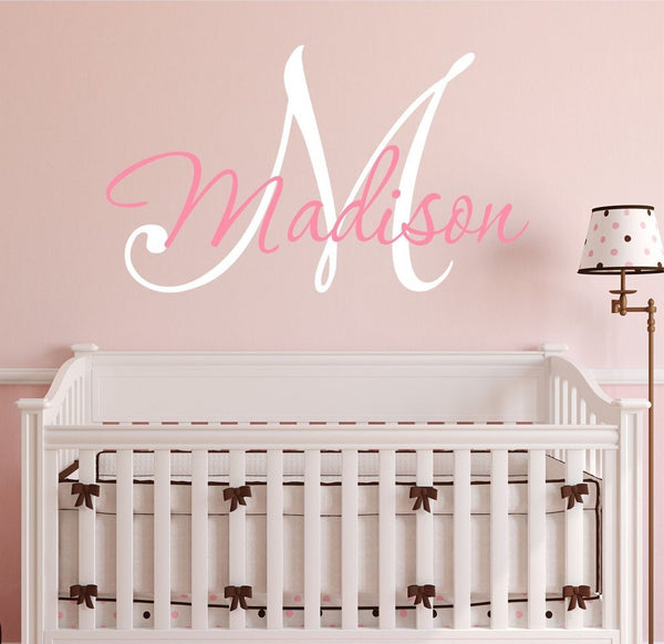 "Nursery Custom Name and Initial Wall Decal Sticker 28"" W by 21"" H, Girl Name Wall Decal, Girls Name, Wall Decor, Personalized, Girls Name Decor, Nursery Bedroom Baby Decor Plus Free Hello Door Decal"