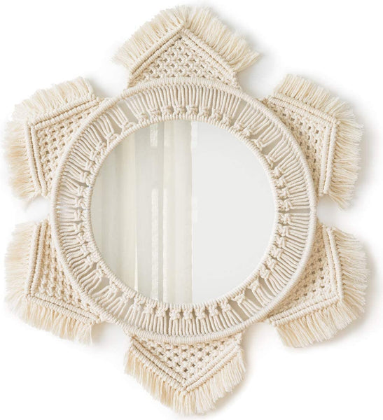 Mkono Hanging Wall Mirror with Macrame Fringe Round Mirror Art Boho Decor for Apartment Living Room Bedroom Baby Nursery Dorm Entryways