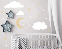 Easu Clouds Sky Wall Vinyl Wall Decals Moon and Stars Wall Decal Kids Baby Room Decoration Good Night Nursery Wall Decor