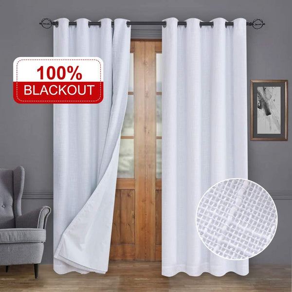Rose Home Fashion 100% Blackout Curtains, Primitive Linen Look White Blackout Curtains& Blackout Thermal Insulated Liner, Curtains for Living Room/Bedroom,Burlap Curtains-2 Panels, 50x84 White