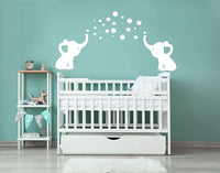 LUCKKYY Elephant Family Wall Decal Removable Vinyl Wall Art Elephant Bubbles Wall Stickers Baby Nursery Wall Decor (Grey+Pink)
