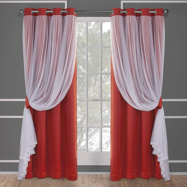 Exclusive Home Curtains Catarina Layered Solid Blackout and Sheer Window Curtain Panel Pair with Grommet Top, 52x84, Cloud Grey, 2 Piece