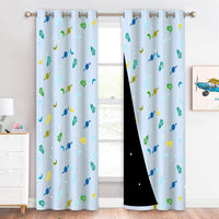 "NICETOWN Grommet Nursery Bedroom Blackout Curtains, Grommet Rockets Moons Planets Pattern Print Drapes with Star Cut Liners Light Blocking Window Curtains for Kids, 52"" W x 95"" L, Aqua, 2 Panels"