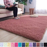 Noahas Super Soft Modern Shag Area Rugs Fluffy Living Room Carpet Comfy Bedroom Home Decorate Floor Kids Playing Mat 4 Feet by 5.3 Feet, Pink