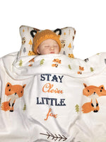 Head Shaping Baby Pillow with Clever Fox Fleece Blanket (2 Pc. Set) Ergonomic Support to Help Prevent Flat Head Syndrome | Newborn Infant Sleeping Comfort