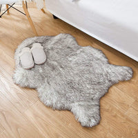 HYMYUS Soft Faux Sheepskin Fur Chair Couch Cover Area Rug 5.5 cm Thick Fluffy Living Room Runner Carpets Suitable for Children Kids Baby Bedroom Home Decor Nursery Rugs (Gray tip, 2FTx3FT)