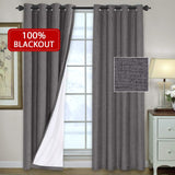 H.VERSAILTEX Primitive Linen Look 100% Blackout Curtains Waterproof Burlap Fabric Curtains White Thermal Insulated Liner, Grommet Top Curtains Living Room/Bedroom (2 Panels W52 x L84 inches, Grey)