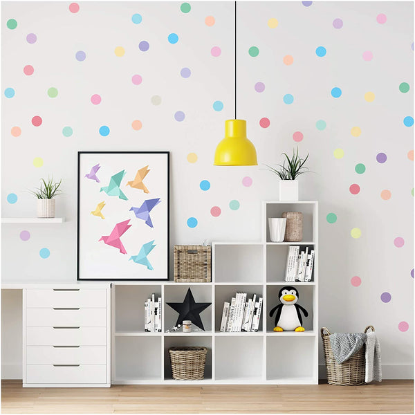 PapaKit Large Round Polka Dot Confetti Wall Decal Baby Nursery Child Kid Boy Girl Bedroom Home Decor | Creative Art Design Pattern | Safe Removable Adhesive (Pastel Rainbow, 2 Inches x 120 Pieces)