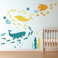 GULIGULI Ocean Wall Decal- Under The Sea Fish Vinyl Wall Stickers for Kids Boys Girls Room Bedroom Nursery Decor