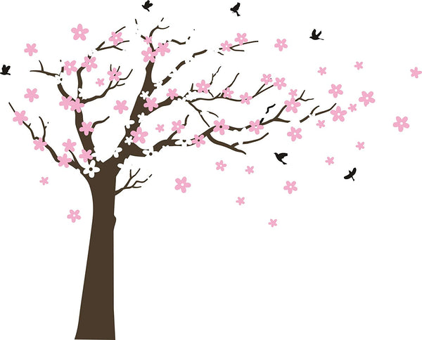 MAFENT Large Cherry Blossom Tree Blowing in The Wind Tree Wall Decals Wall Sticker Vinyl Wall Art Kids Rooms Teen Girls Boys Wallpaper Wall Stickers Room Decor (Dark Brown Tree,White and Pink Flower)