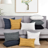BLEUM CADE Set of 4 Grey Pillow Covers Cotton Linen Throw Pillow Covers Cushion Cover Decorative Pillowcases for Couch Sofa Bed, Grey, 16 x 16 Inches