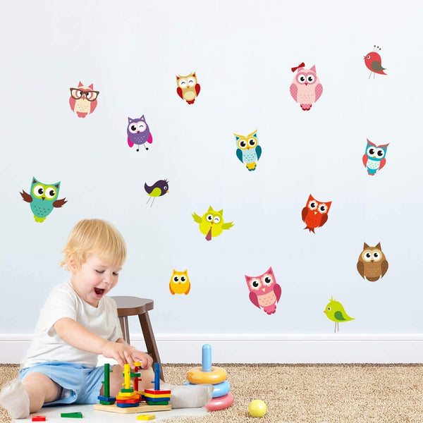 PARLAIM Kids Animal Wall Stickers,Peel and Stick Removable Wall Decals for Kids Nursery Bedroom Living Room (owl and Birds)