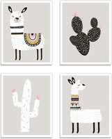 "Kindred Sol Collective Llama Wall Decor Art Posters - Set of 4 (11"" x 14"") Professional Grade Prints (Llama & Cactus) for Baby Room, Boy/Girl Room, Kids, Nursery Room Decor, Playroom"
