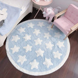 "Plush Cotton Nursery Rugs for Boys and Girls - Super Soft Playtime Collection, Baby Crawling Play Mat Kids Teepee Tent Game Carpet, White Star Blue Fluffy Rugs (Round, 43"")"