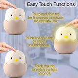 Night Light for Kids | Baby Nursery Lamp with Touch Controls | Cute Chick Bedside Nightlight for Nursing/Breastfeeding | USB Rechargeable | Newborn or Toddler Bedroom Decor for Boys and Girls