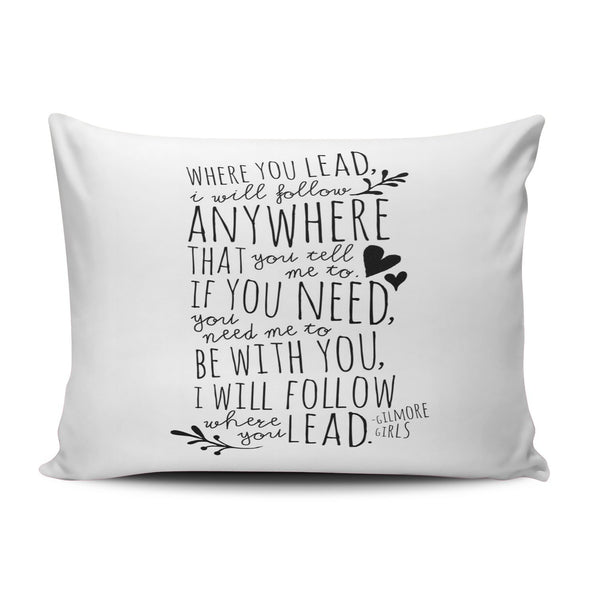 SALLEING Custom Beauty Design Black and White Gilmore Girls Where You Lead Theme Song Decorative Pillowcase Pillowslip Throw Pillow Case Cover Zippered One Side Printed 12x16 Inches
