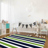 OUR WINGS Modern Area Rug,Navy Blue, Lime Green and White Stripe 4 Feet by 6 Feet Indoor Area Rugs Living Room Carpets for Home Decor Bedroom Nursery Rugs
