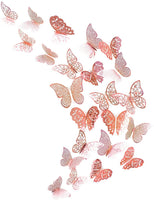 pinkblume Rose Gold Butterfly Decorations Stickers 3D Butterfies Wall Decor DIY Home Decorations Removable Wall Decals Murals for Home Living Room Babys Bedroom Showcase Nursery Art Decor (36PCS)