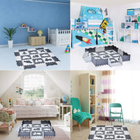 "25PCs Baby Play Mat with Fence Including 9 Different Vehicle Styles, Thick (0.47"") Interlocking Foam Floor Tiles, Kids Room Decor Large Mat"