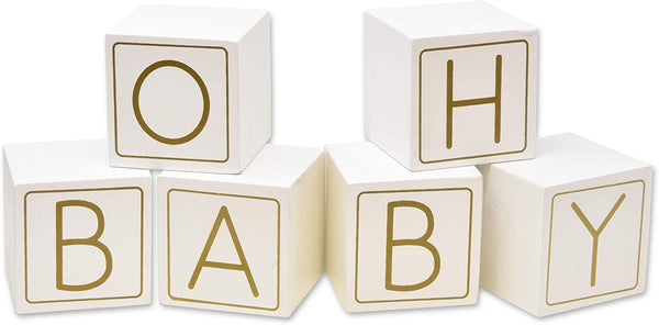 "Oh Baby Shower Wooden Blocks Guestbook Decor 6 Piece White & Gold Babies Guest Book Wood Block Table Top Centerpiece Keepsake 2 3/8"" Letter Neutral Girl Boy Gender Reveal Game Party Favor Supplies"
