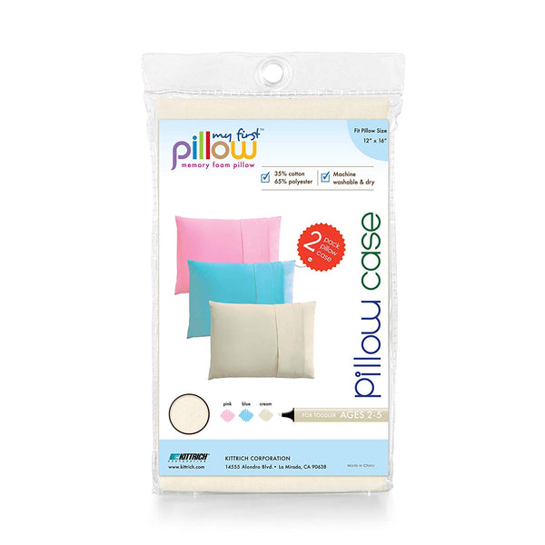 "My First Set of Two Toddler Pillow Cases Fits Pillows Sized 12"" x 16"", Cream"