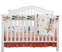 Boho Coral Feather Floral Ruffle Baby Minky Blanket Peach Floral Nursery Crib Skirt Set Baby Girl Crib Bedding Feather Blanket (Feather Floral 3pc Set)