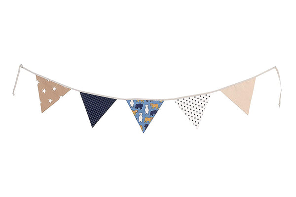 100% Cotton Fabric Bunting Flag Garland Pennant Banner by ULLENBOOM | Polka Dot/Star/Checkered | Baby Shower/Party/Nursery | 6 Ft - Boys Blue